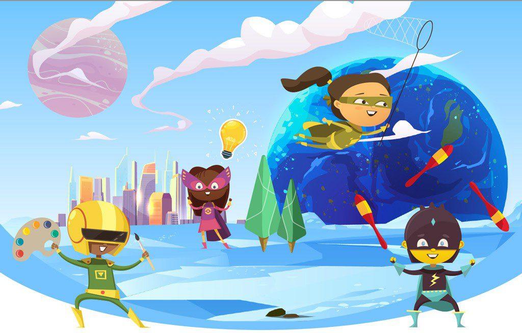 Image d'enfants super-héros en développement créatif, gestion de projets habile, recruteurs de profils et agence d'idées