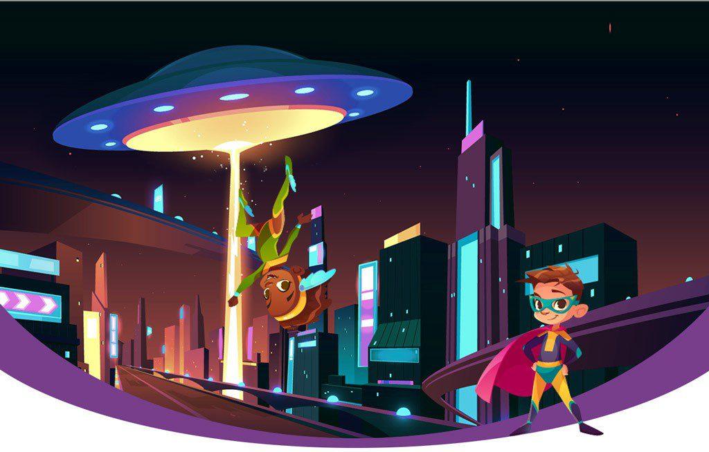 Image d'enfants super-héros dans un décor futuriste, contact entre humains et d'autres civilisations.
